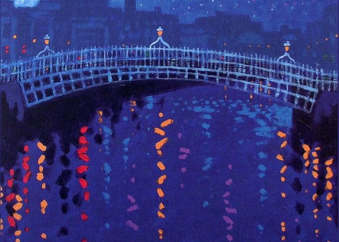 Acrylic Greeting Card featuring the painting Starry Night In Dublin by John Nolan