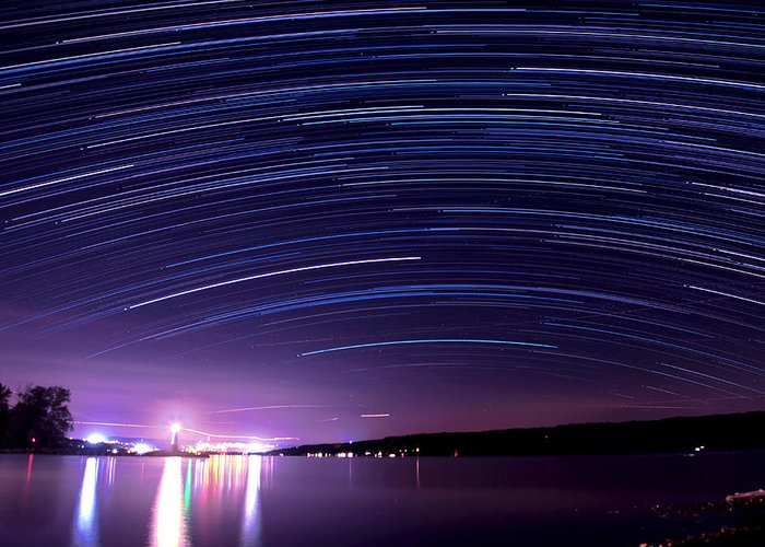 Star Greeting Card featuring the photograph Starry Night On Cayuga Lake by Paul Ge