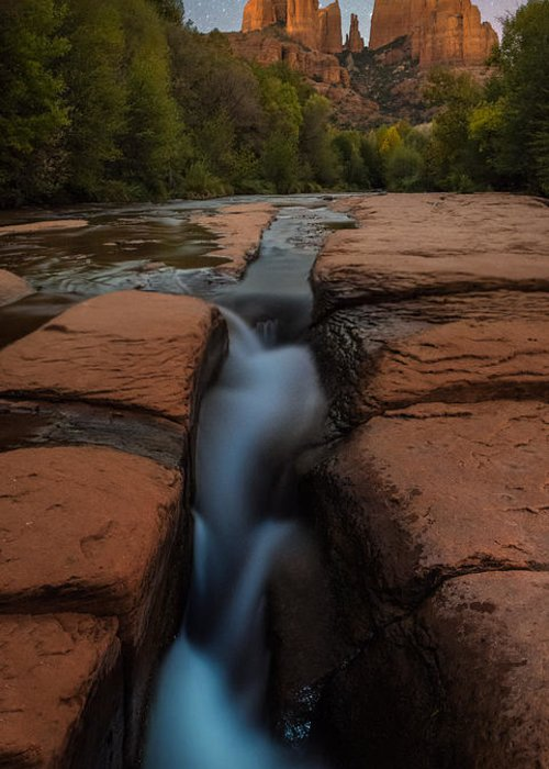 All Rights Reserved Greeting Card featuring the photograph Starry Night Sluice Box Photography At Red Rock Crossing by Mike Berenson