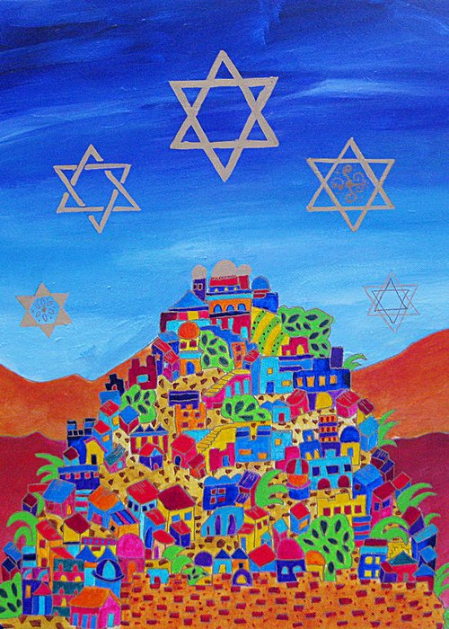 Jerusalem Greeting Card featuring the painting Stars Above Jerusalem by Dawnstarstudios