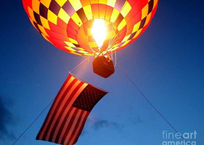 Hot Air Balloons Greeting Card featuring the photograph Stars And Stripes Glow by Paul Anderson