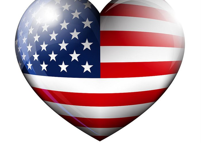 Heart Greeting Card featuring the digital art Stars And Stripes by Fenton Wylam