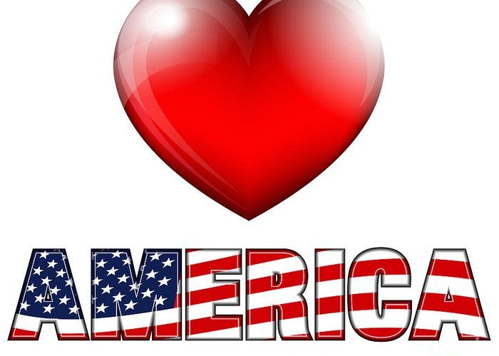 Heart Greeting Card featuring the digital art Love America by Fenton Wylam