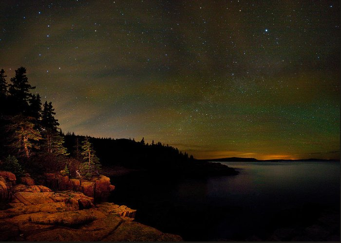 Monument Cove Greeting Card featuring the photograph Stars Over Monument Cove 4186 by Brent L Ander