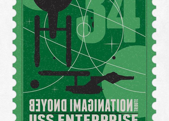 Enterprise Greeting Card featuring the digital art Starschips 34-poststamp - Uss Enterprise by Chungkong Art