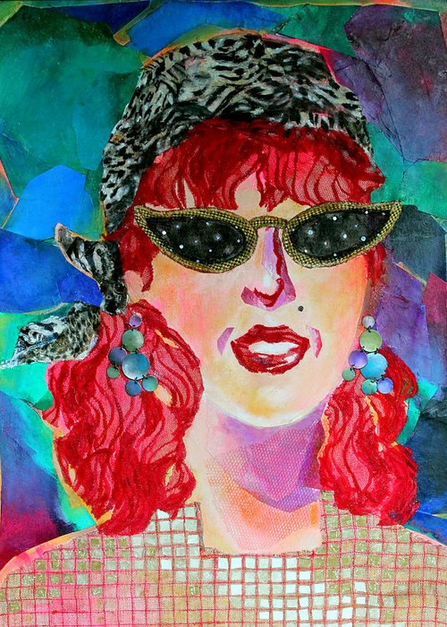 Portrait Greeting Card featuring the mixed media Starstruck by Diane Fine