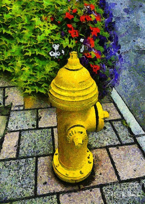 Hydrant Greeting Card featuring the painting State Street Sentinel by RC DeWinter