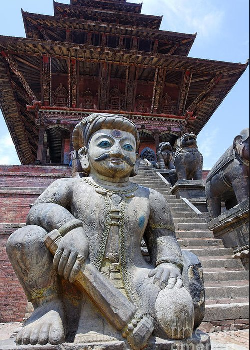 Bhaktapur Greeting Card featuring the photograph Statue At The Nyatapola Temple At Bhaktapur In Nepal by Robert Preston
