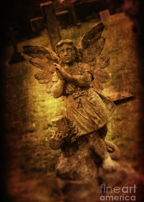 Angel Greeting Card featuring the photograph Statue Of Angel by Amanda Elwell