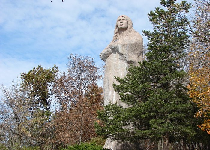 Art Greeting Card featuring the photograph Statue Of Chief Black Hawk In Oregon Il by BJ Karp