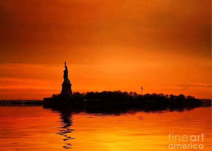 New York Skyline Greeting Card featuring the photograph Statue Of Liberty At Sunset by John Farnan