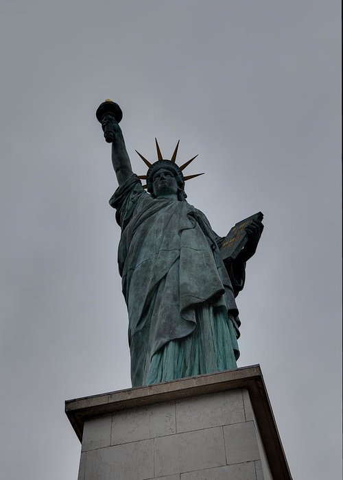 Aod Greeting Card featuring the photograph Statue Of Liberty - Paris France - 01131 by DC Photographer