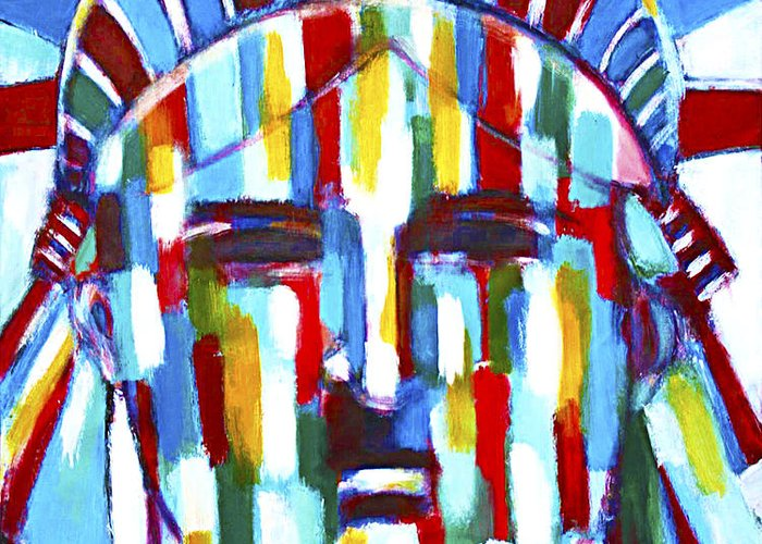 Abstract Greeting Card featuring the painting Statue Of Liberty With Colors by Habib Ayat
