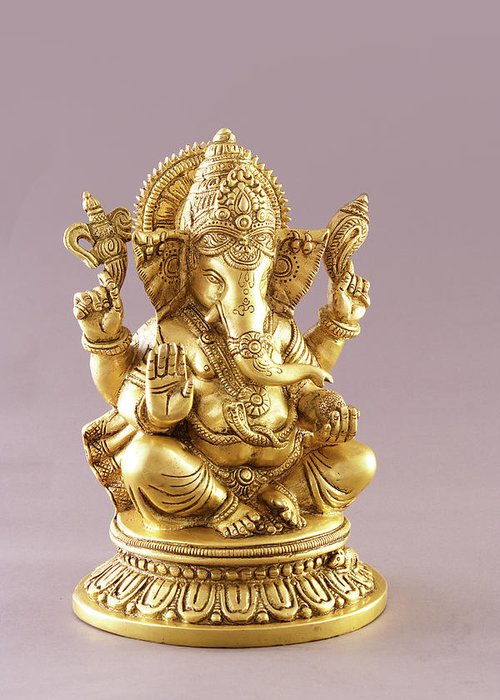 Spirituality Greeting Card featuring the photograph Statue Of Lord Ganesh by Visage