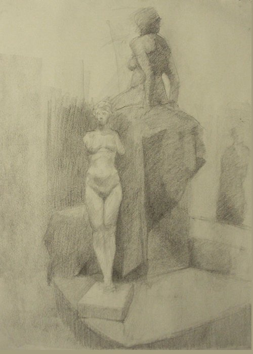 Charcoal Greeting Card featuring the drawing Statues by Cynthia Harvey
