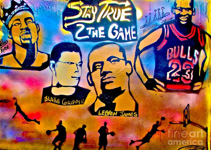 Kobe Bryant Greeting Card featuring the painting Stay True 2 The Game No 1 by Tony B Conscious