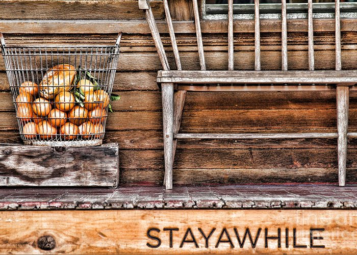 Bench Greeting Card featuring the photograph Stayawhile by Diana Sainz