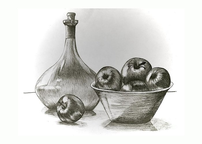 Linda Simon Greeting Card featuring the drawing Stealing Of The Orchard by Linda Simon