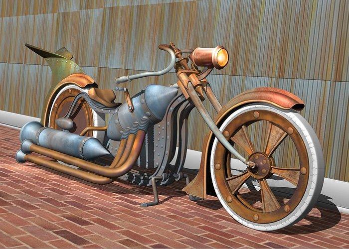 Steampunk Greeting Card featuring the digital art Steam Chopper by Stuart Swartz