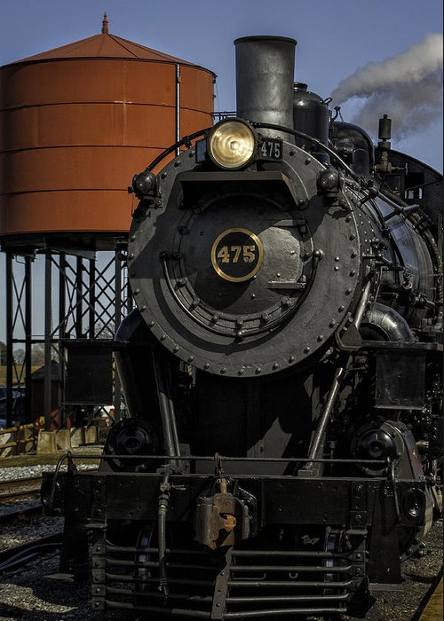 Strasburg Rr Greeting Card featuring the photograph Steam Engine #475 Pulling Into The Strasburg Rr Station 01 by Mark Serfass