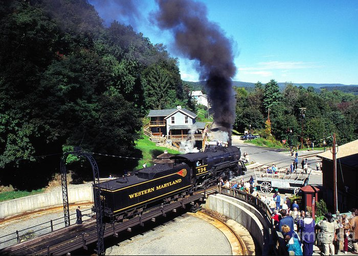 Western Maryland Railroad Greeting Card featuring the photograph Steam Engine On Turnstile by Thomas R Fletcher