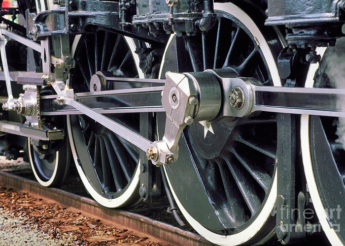Steam Locomotive Coupling Rod And Driver Wheels Greeting Card