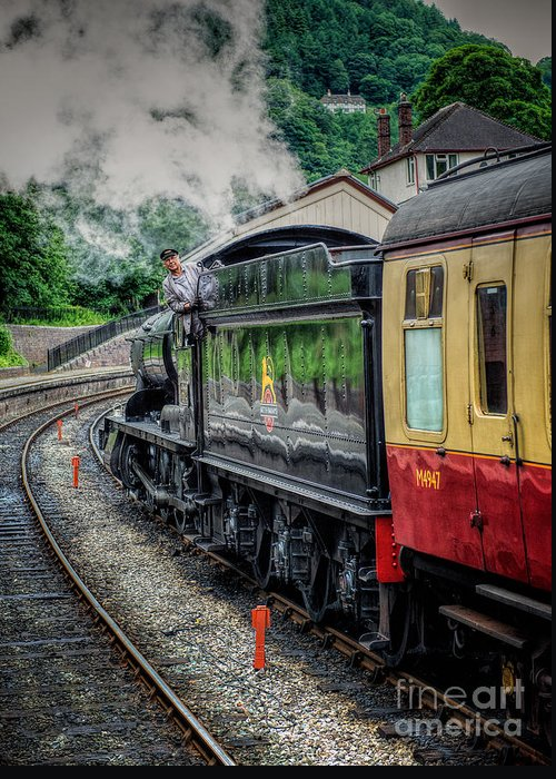 Steam Locomotive Greeting Card featuring the photograph Steam Train 3802 by Adrian Evans