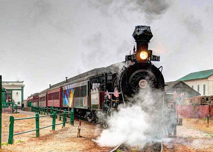 Tracks Greeting Card featuring the photograph Steam Train 45 by William Havle