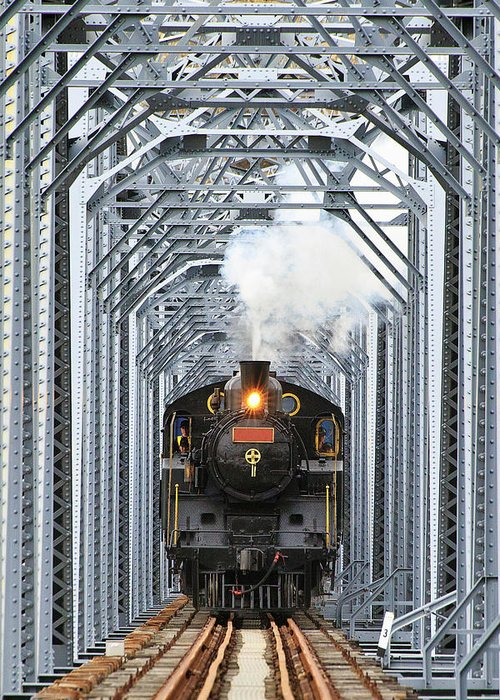 Air Pollution Greeting Card featuring the photograph Steam Train by Peter Hong