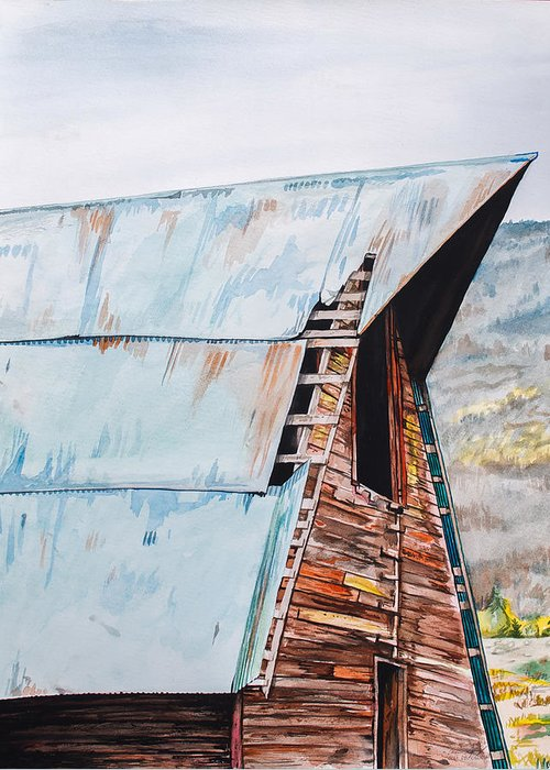 Barn Greeting Card featuring the painting Steamboat Barn by Aaron Spong