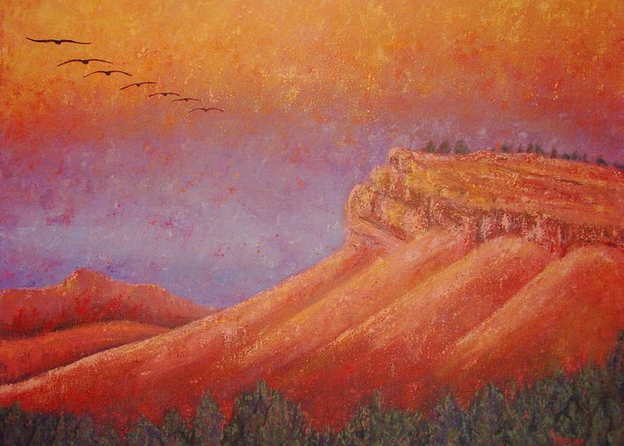 Steamboat Mountain Greeting Card featuring the painting Steamboat Mountain at Sunrise by Margaret Bobb