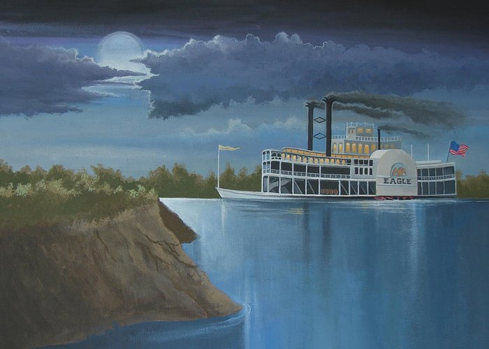 Steamboat Greeting Card featuring the painting Steamboat On The Mississippi by Stuart Swartz