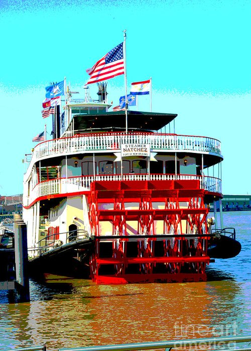 Boat Greeting Card featuring the digital art Steamer Natchez Paddleboat by Alys Caviness-Gober