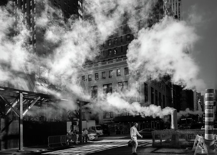 Street Greeting Card featuring the photograph Steaming by Eduardo Marques