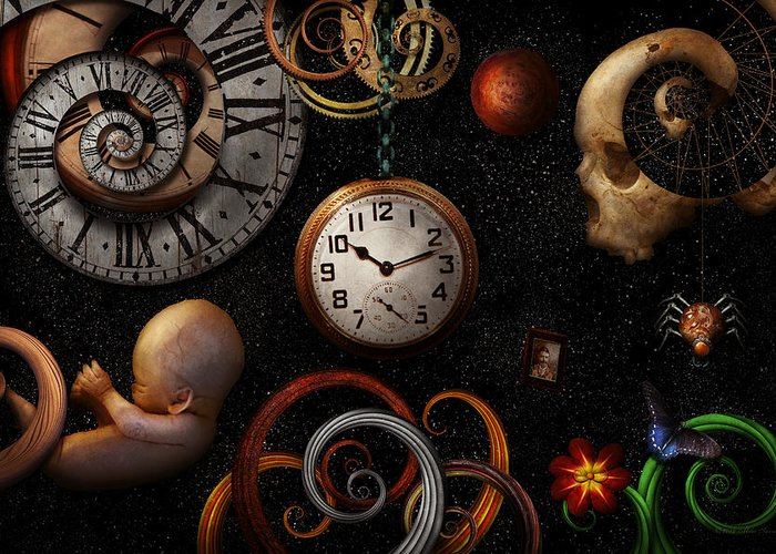 Time Greeting Card featuring the photograph Steampunk - Abstract - The Beginning And End by Mike Savad