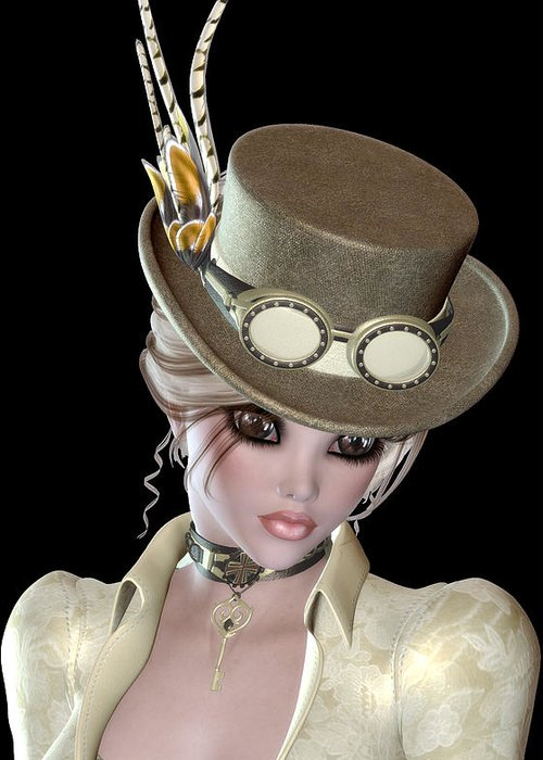 Steampunk Greeting Card featuring the digital art Steampunk Blond Woman by Marcella