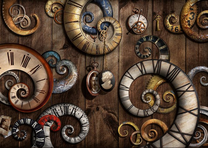 Savad Greeting Card featuring the photograph Steampunk - Clock - Time Machine by Mike Savad