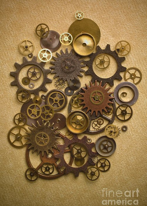 Gears Greeting Card featuring the photograph Steampunk Gears by Diane Diederich