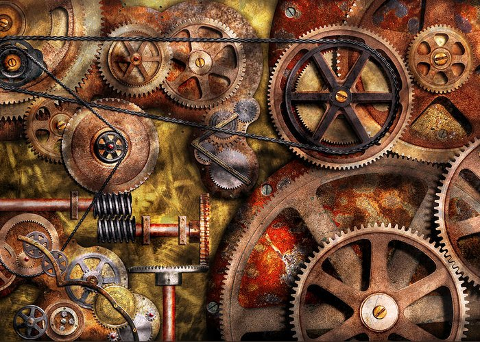 Steampunk Greeting Card featuring the photograph Steampunk - Gears - Inner Workings by Mike Savad