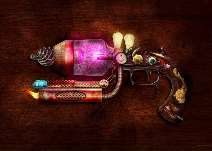 Steampunk Greeting Card featuring the digital art Steampunk - Gun -the Neuralizer by Mike Savad
