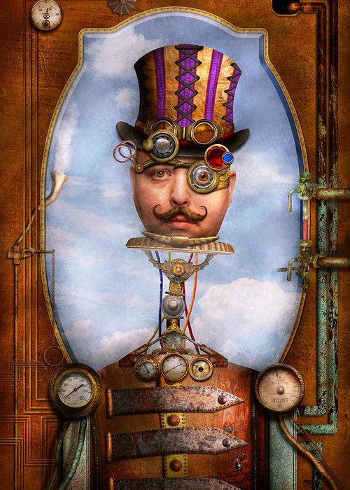Robot Greeting Card featuring the photograph Steampunk - Integrated by Mike Savad