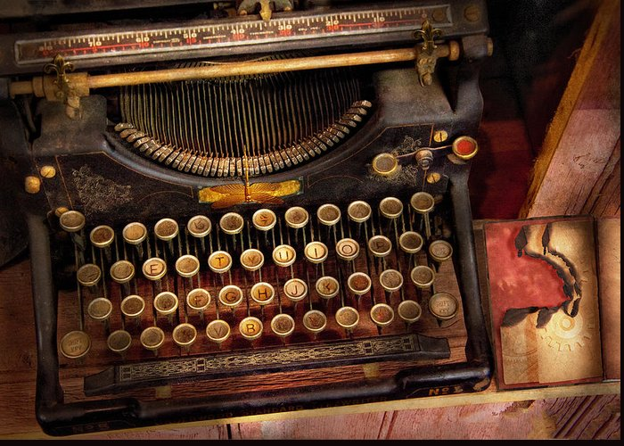 Hdr Greeting Card featuring the photograph Steampunk - Just An Ordinary Typewriter by Mike Savad