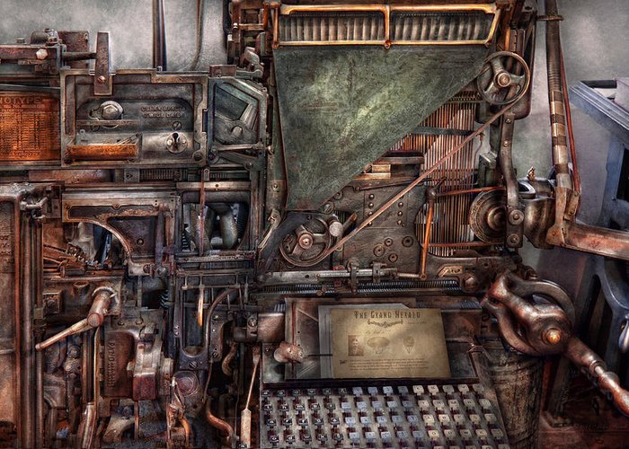 Steampunk Greeting Card featuring the photograph Steampunk - Machine - All The Bells And Whistles by Mike Savad