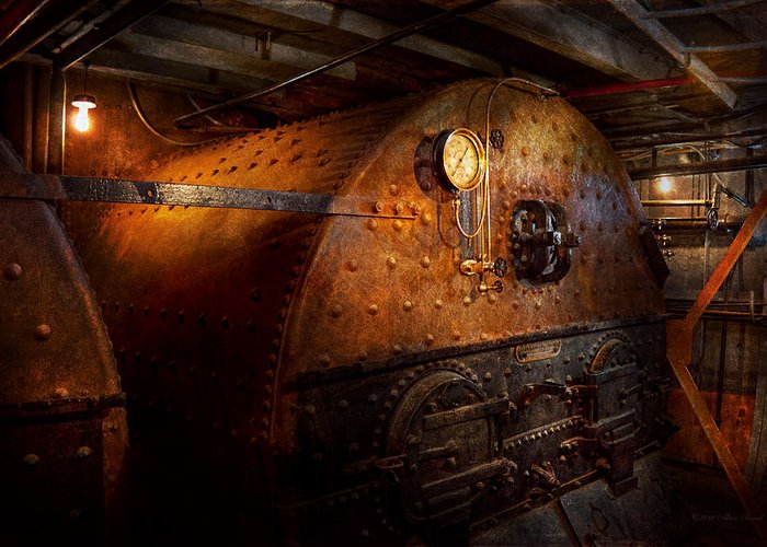 Steampunk Greeting Card featuring the photograph Steampunk - Plumbing - The Home Of A Stoker by Mike Savad