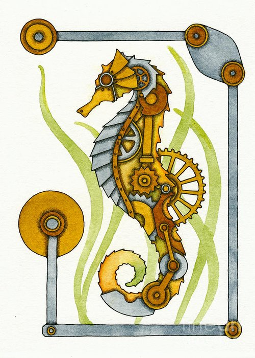 Seahorse Greeting Card featuring the painting Steampunk Seahorse by Nora Blansett