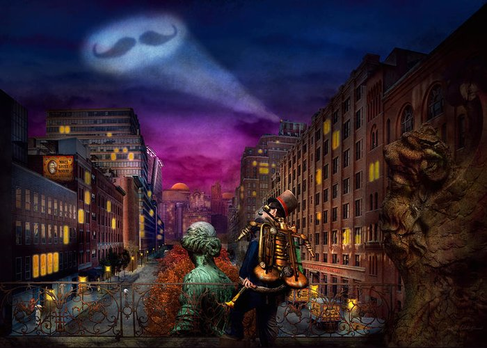 Barber Greeting Card featuring the photograph Steampunk - The Great Mustachio by Mike Savad