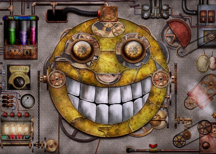 Steampunk Greeting Card featuring the digital art Steampunk - The Joy Of Technology by Mike Savad