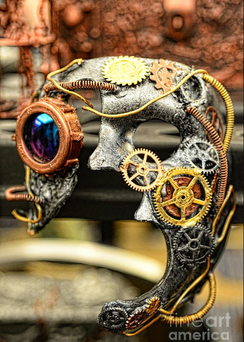 Paul Ward Greeting Card featuring the photograph Steampunk - The Mask by Paul Ward