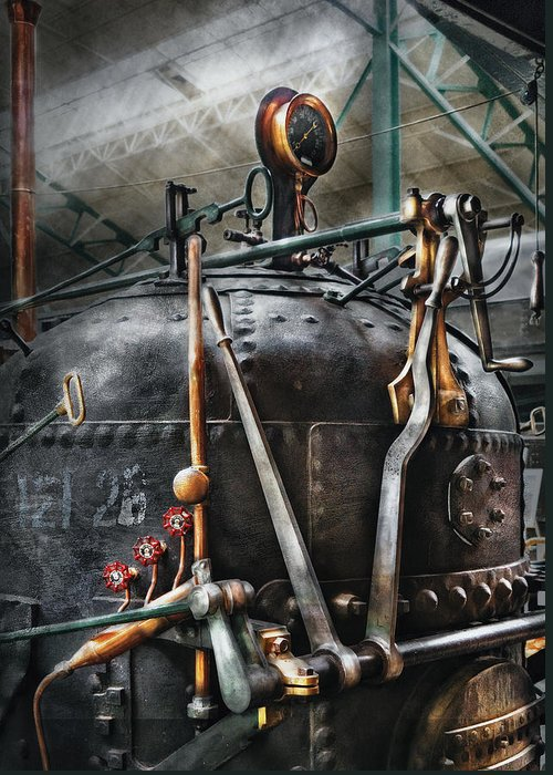 Steampunk Greeting Card featuring the photograph Steampunk - The Steam Engine by Mike Savad