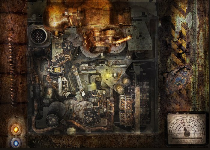 Hdr Greeting Card featuring the photograph Steampunk - The Turret Computer by Mike Savad